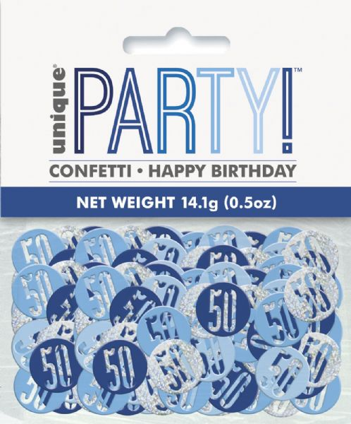 Glitz Blue Age 50 Table Confetti